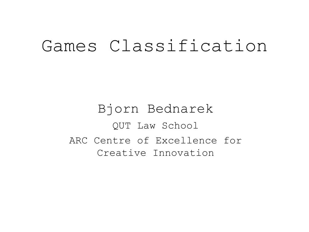 games classification l.