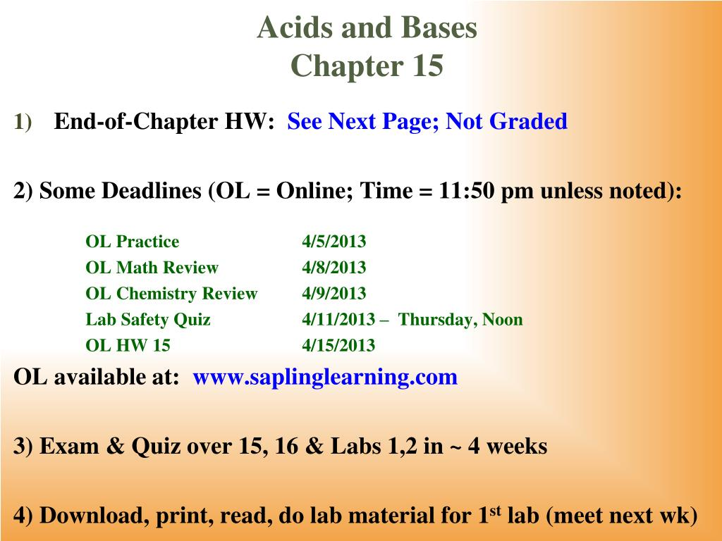 acids and bases chapter 15 l.