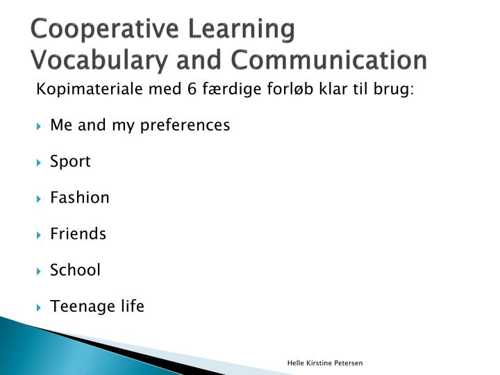 Cooperative learning vocabulary and communication