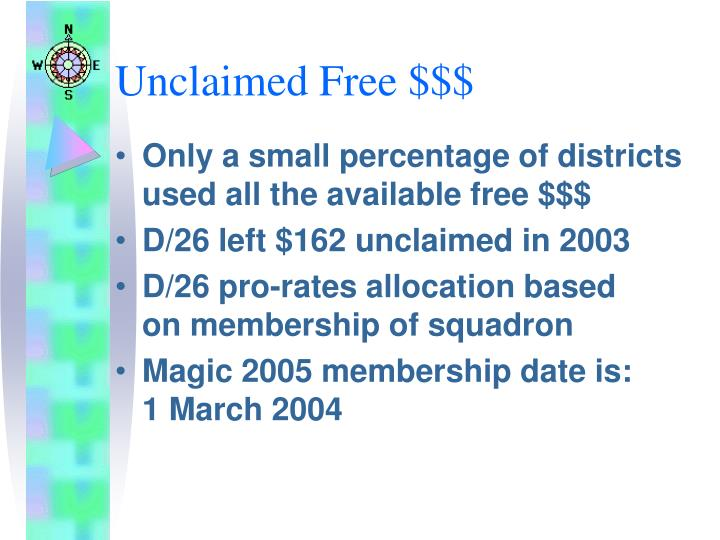 Unclaimed Free $$$