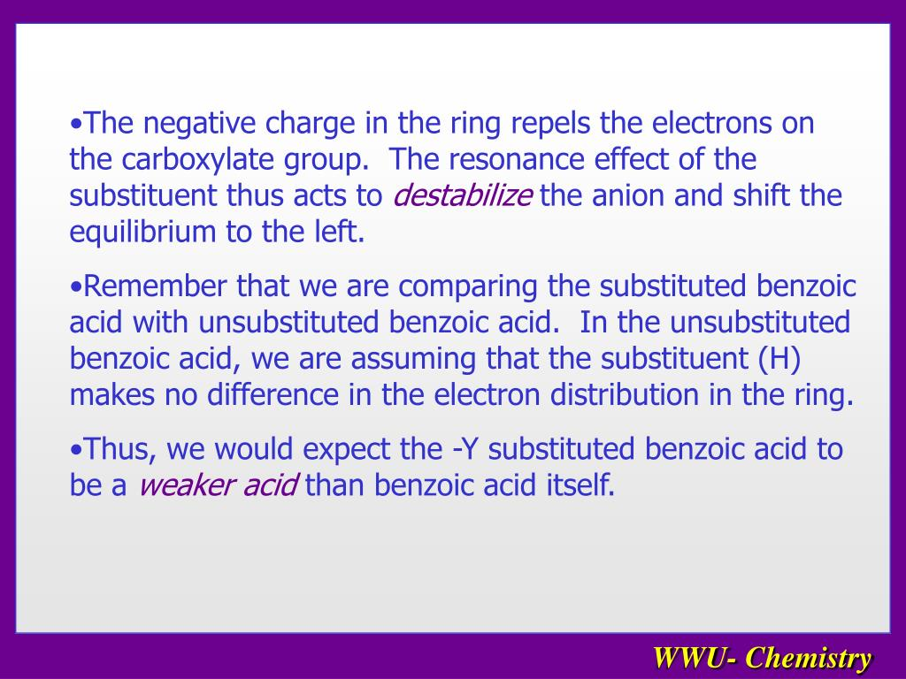 The negative charge in the ring repels the electrons on the carboxylate group.  The resonance effect of the substituent thus acts to
