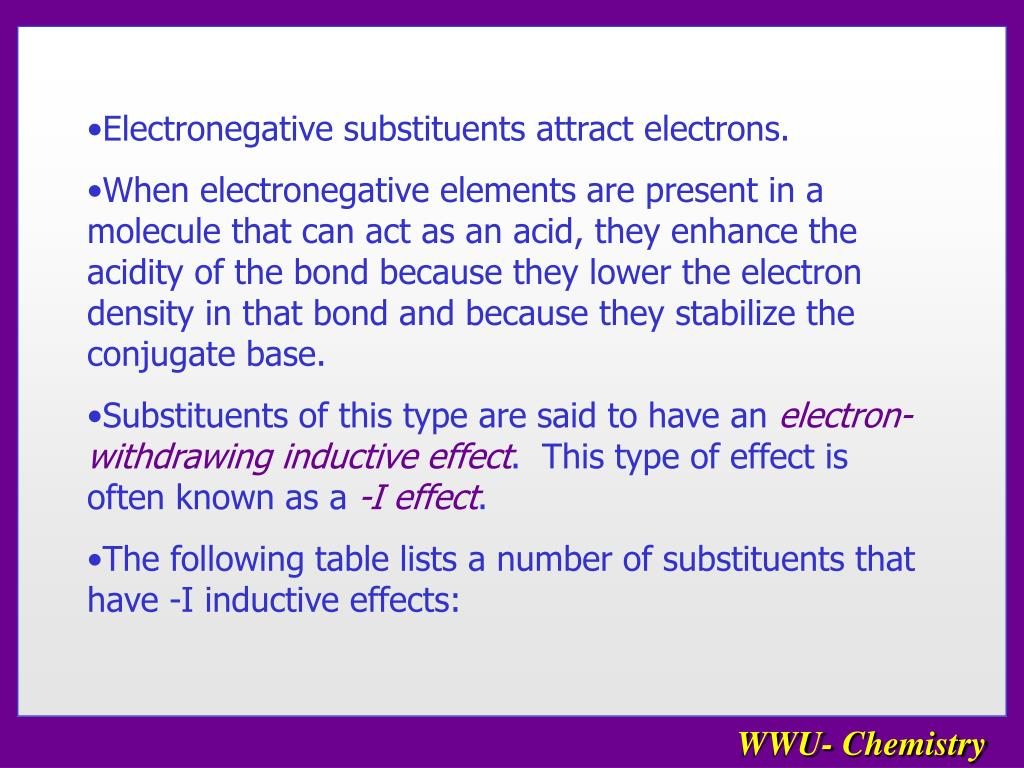 Electronegative substituents attract electrons.