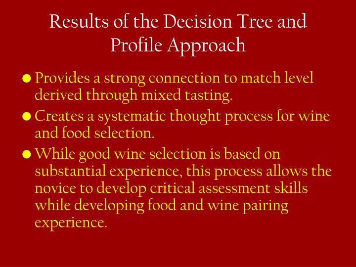 Results of the Decision Tree and Profile Approach
