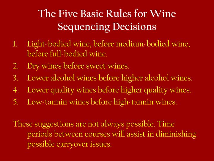 The Five Basic Rules for Wine Sequencing Decisions