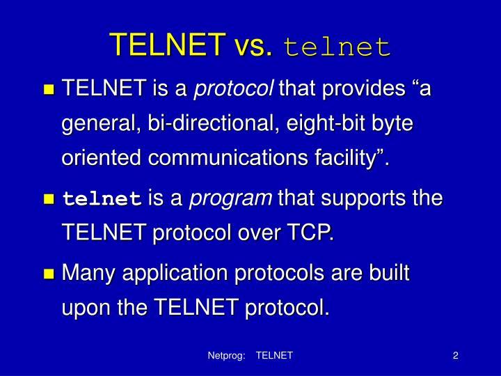 Telnet vs telnet