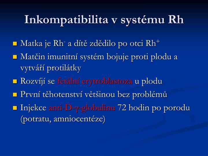 Inkompatibilita v systému Rh