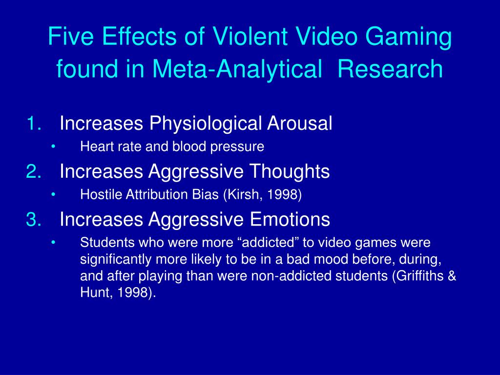 Five Effects of Violent Video Gaming found in Meta-Analytical  Research