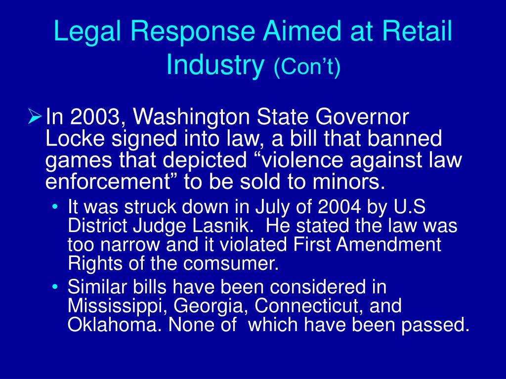 Legal Response Aimed at Retail Industry