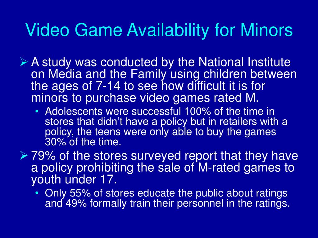 Video Game Availability for Minors