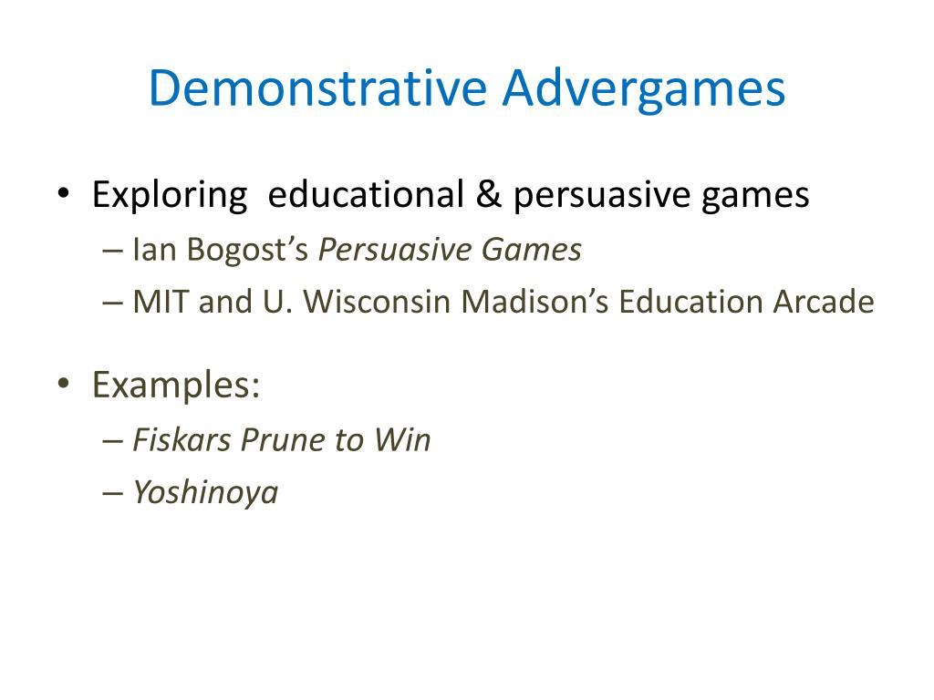 Demonstrative Advergames