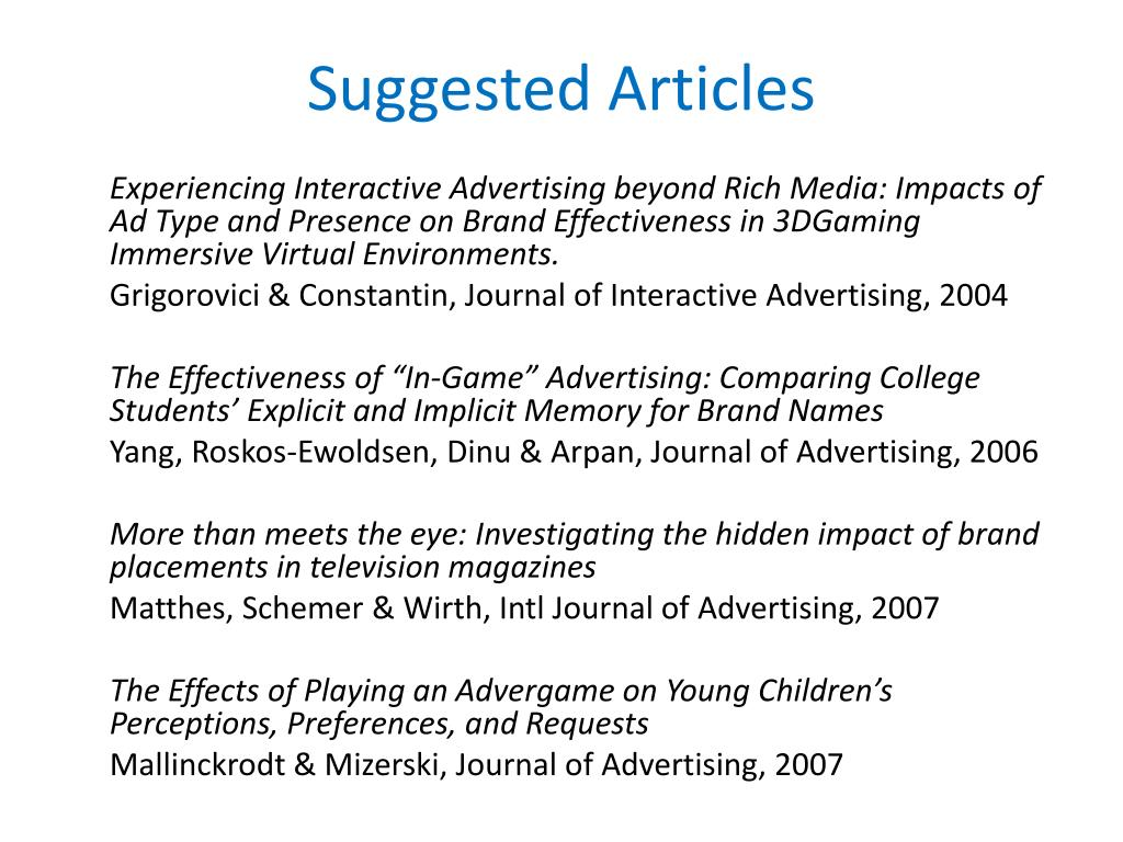 Suggested Articles