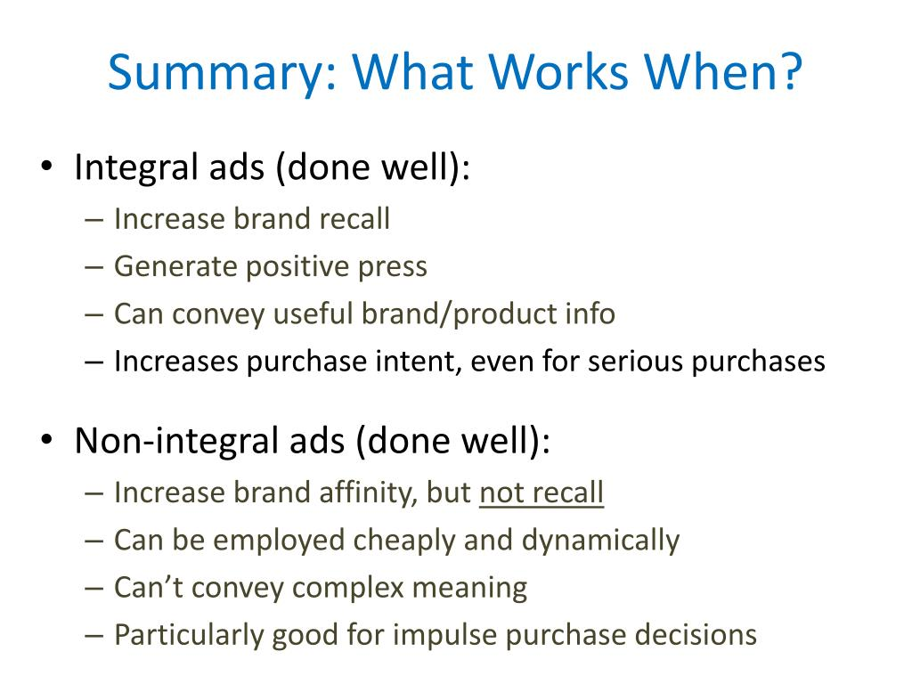 Summary: What Works When?