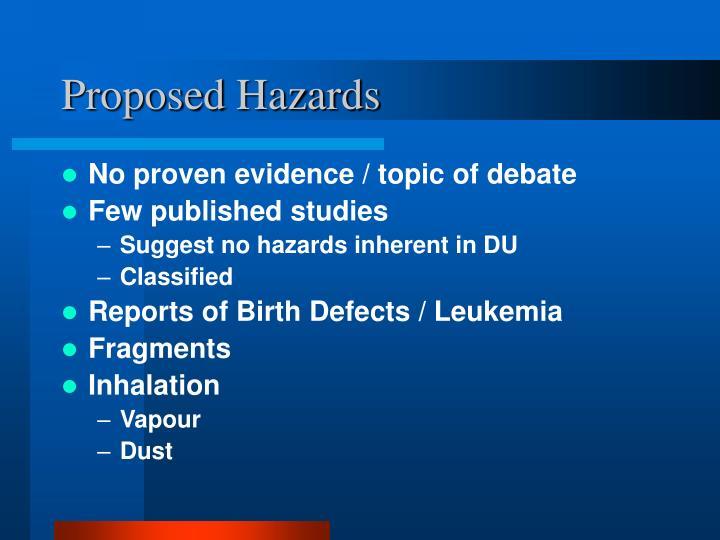 Proposed Hazards