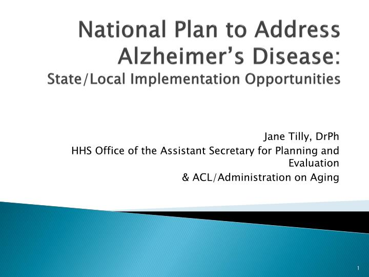 national plan to address alzheimer s disease state local implementation opportunities