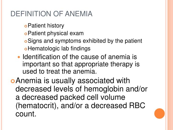 Definition of anemia1