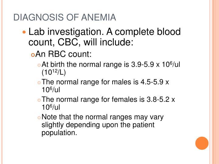 DIAGNOSIS OF ANEMIA