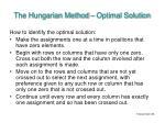 the hungarian method optimal solution