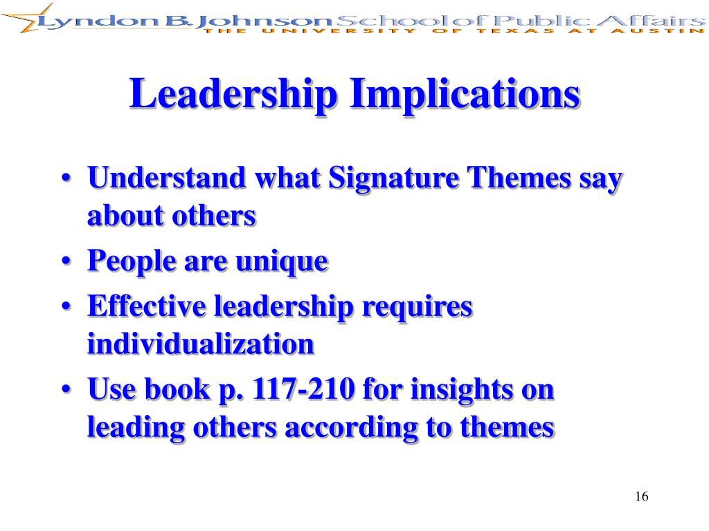 Leadership Implications