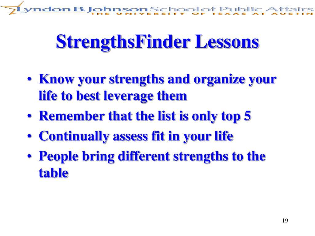 StrengthsFinder Lessons