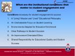what are the institutional conditions that matter to student engagement and success