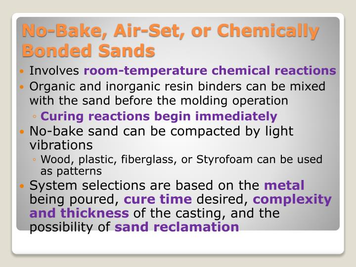 No bake air set or chemically bonded sands