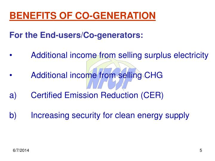 BENEFITS OF CO-GENERATION