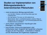 studien zur implementation von bildungsstandards in sterreichischen pilotschulen