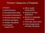 thirteen categories of disability