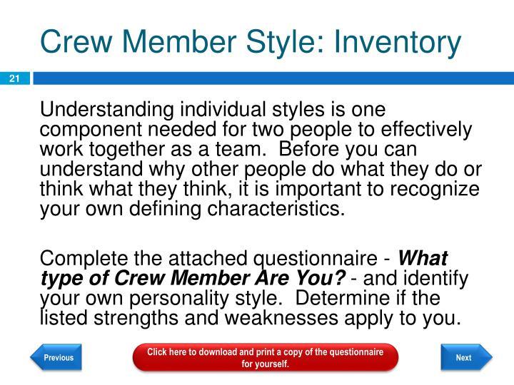 Crew Member Style: Inventory