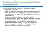 developing and implementing meaningful student learning experiences