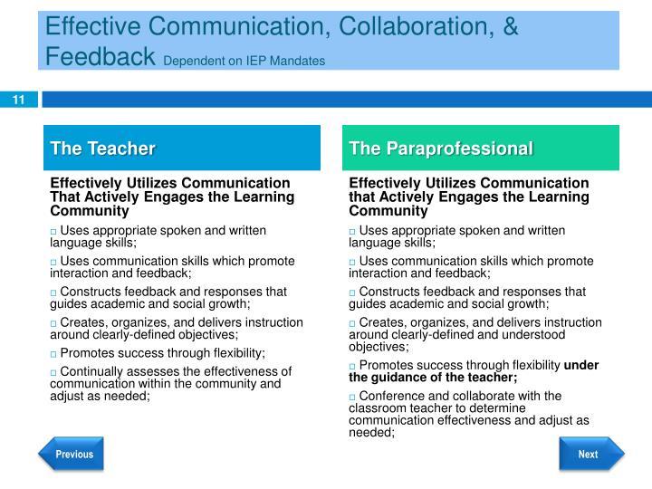 Effective Communication, Collaboration, & Feedback