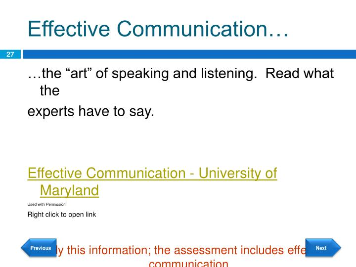 Effective Communication…