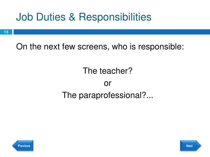 Job Duties & Responsibilities