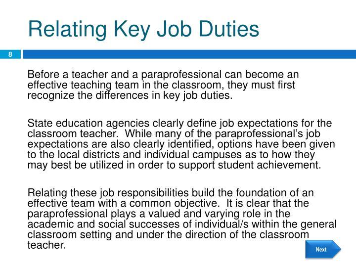 Relating Key Job Duties