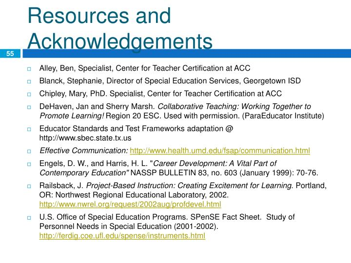 Resources and Acknowledgements