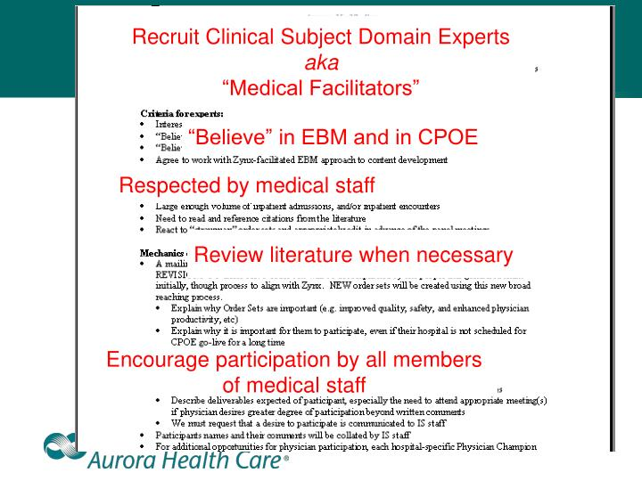 Recruit Clinical Subject Domain Experts