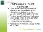 partnerships for health information