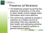 presence of librarians