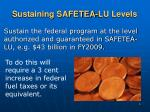 sustaining safetea lu levels