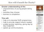 how will it benefit the charity