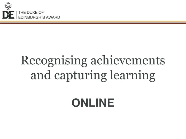 recognising achievements and capturing learning n.
