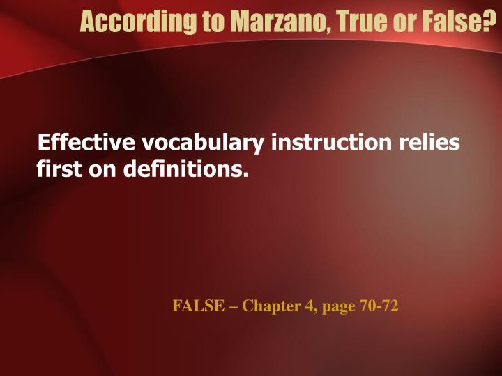 According to Marzano, True or False?