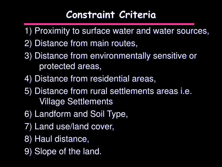 Constraint Criteria