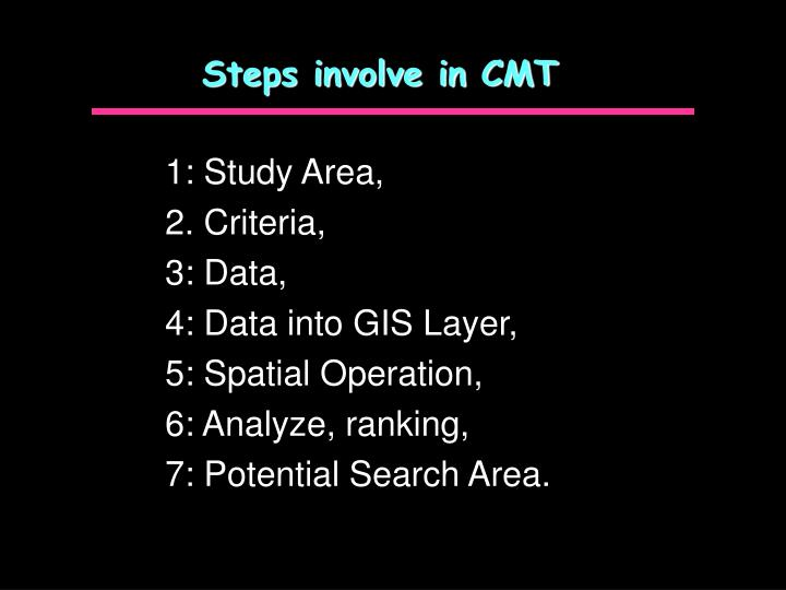 Steps involve in CMT