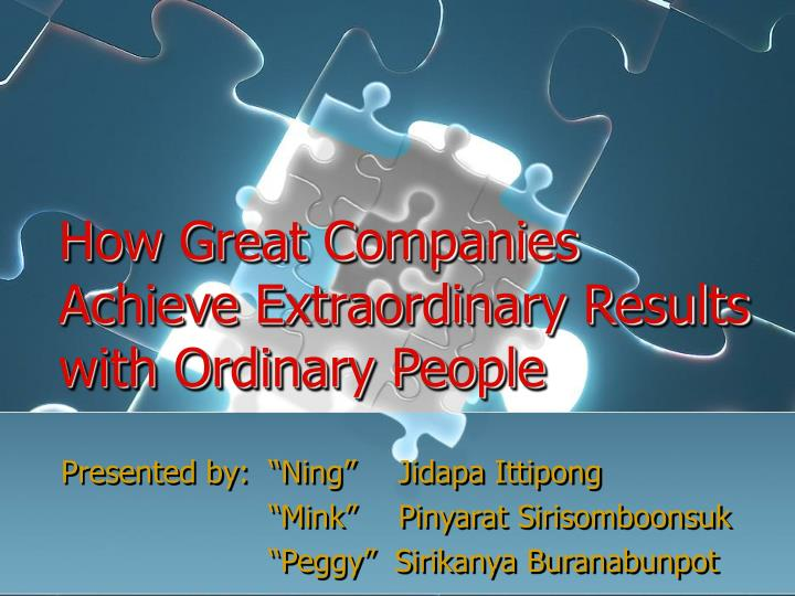 how great companies achieve extraordinary results with ordinary people n.