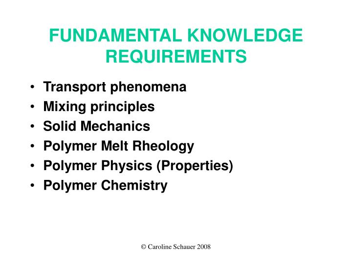 FUNDAMENTAL KNOWLEDGE REQUIREMENTS