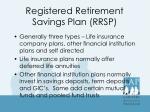 registered retirement savings plan rrsp