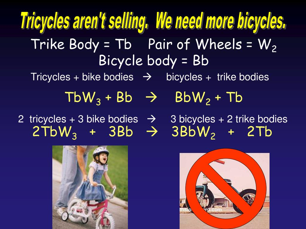 Tricycles aren't selling.  We need more bicycles.