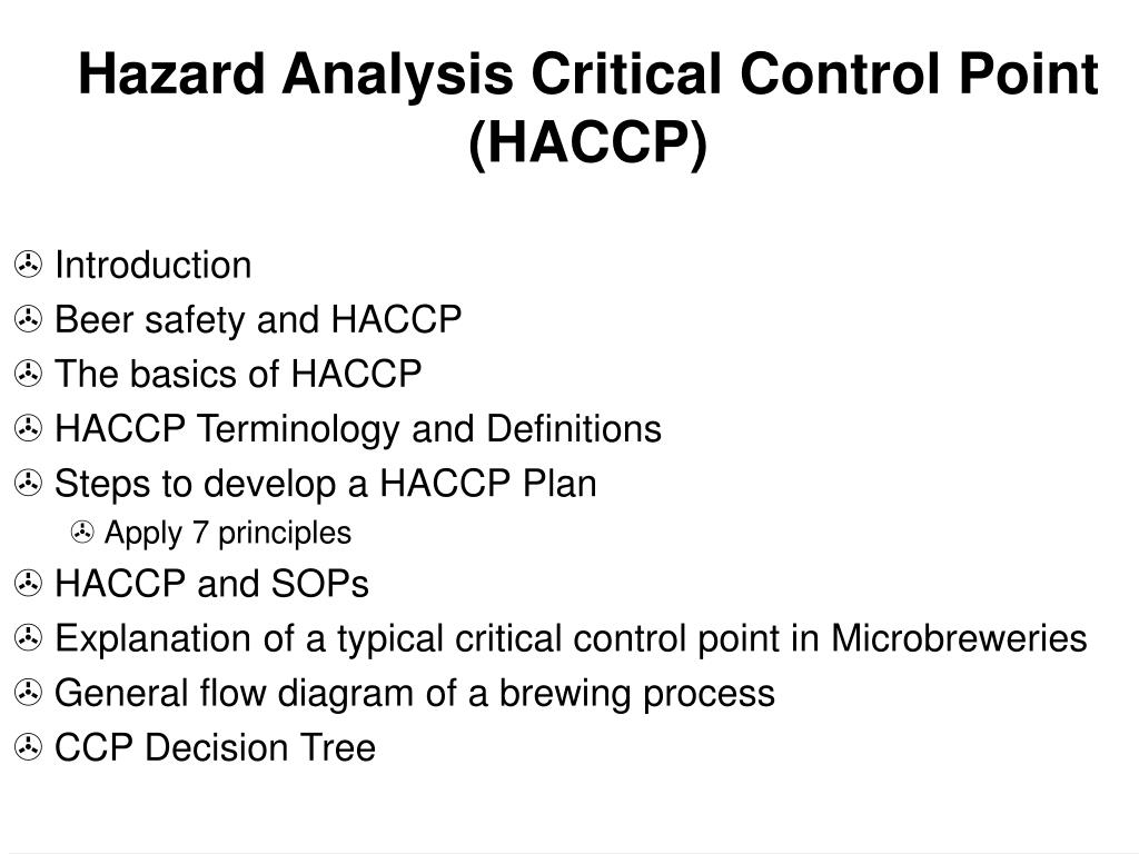 understanding the principles of hazard analysis critical control point