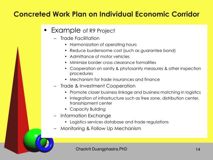 Concreted Work Plan on Individual Economic Corridor